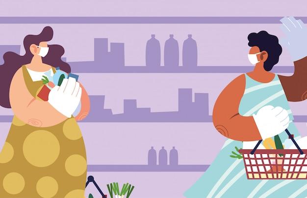 スーパーマーケットでコロナウイルス、社会的距離による予防策と医療マスクを持つ女性