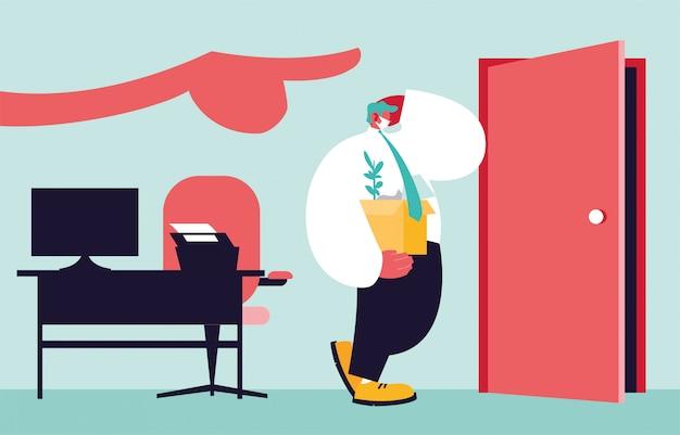 Уволенный человек с коробкой, рука большого босса указывает на дверь