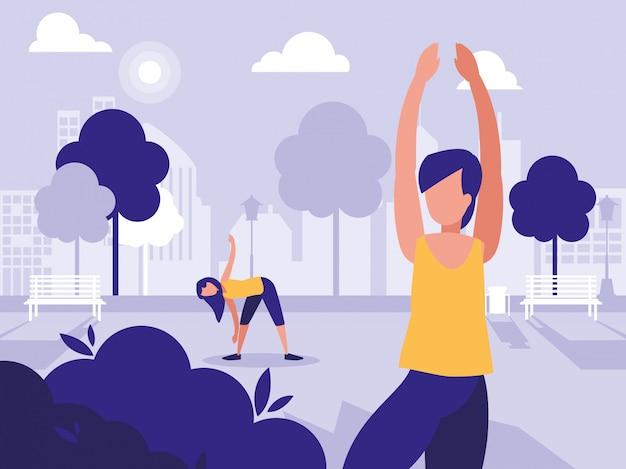 Пара людей в парке в городе занимаются спортом
