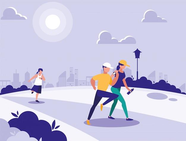 Группа людей в парке в городе, сцена людей на открытом воздухе