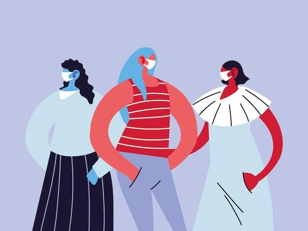 Женщины в медицинских масках, защищающие себя от эпидемической инфекции коронавирусом