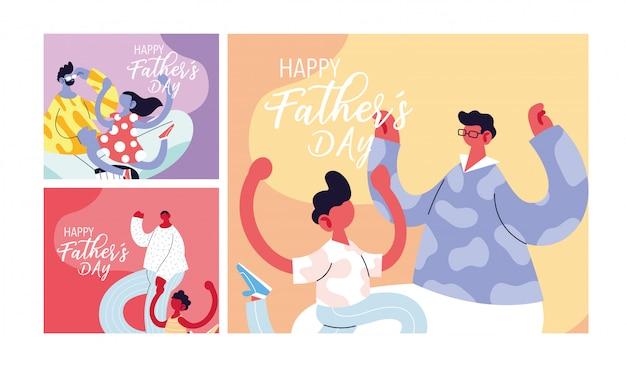 幸せな父の日のカードのセット