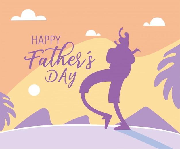 男と娘、幸せな父の日のカード