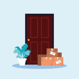 Бесконтактная доставка, коробки с покупками стоят у дверей