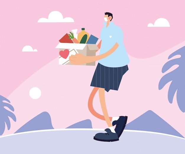 顧客に注文を提供する配達人