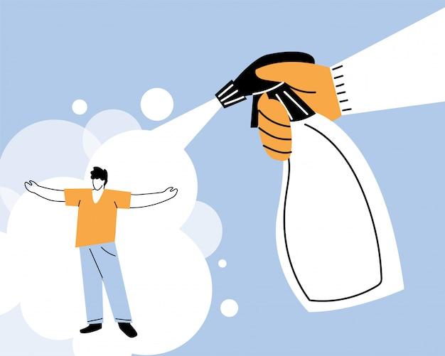 Рука с дезинфицирующим распылителем, очищающим и дезинфицирующим коронавирус