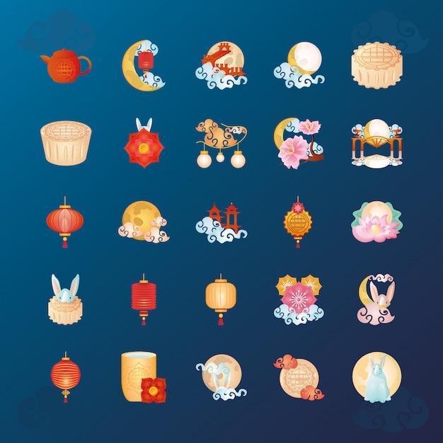 秋祭りや中国の月祭りのアイコン半ばのセット