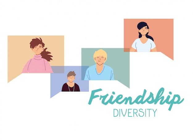 泡のデザインの女性と男性の漫画、文化と友情の多様性テーマ