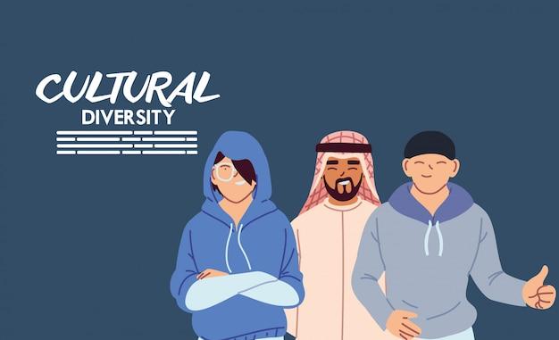 男性漫画デザイン、文化と友情の多様性テーマ