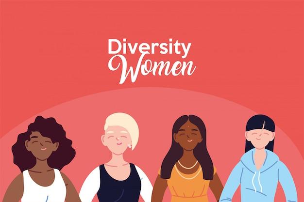 女性漫画デザイン、文化と友情の多様性テーマ