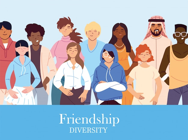 女性と男性の漫画デザイン、文化と友情の多様性テーマ