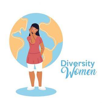 世界デザイン、文化と友情の多様性のテーマの前でラテン女性漫画