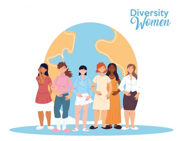 世界のデザイン、文化、友情の多様性をテーマにした女性漫画