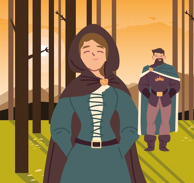 中世の女性と王国とおとぎ話の森のデザインの王子