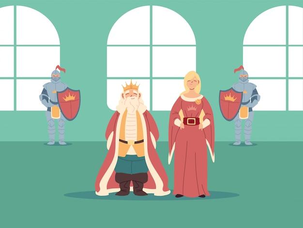 王国とおとぎ話の中世の王妃と騎士のデザイン