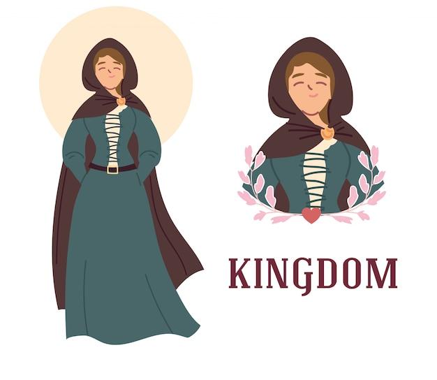 王国とおとぎ話のドレスデザインを持つ中世の女性