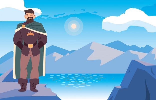 王国とおとぎ話のランドスケープデザインの前の中世の男