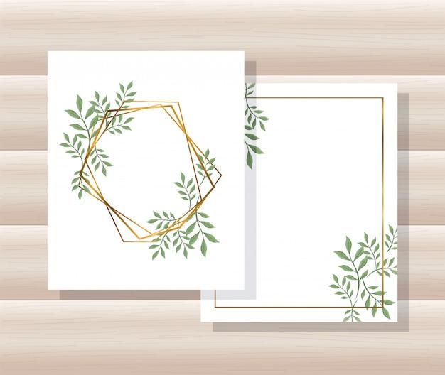幾何学的なゴールデンラインフレーム、葉を持つカード