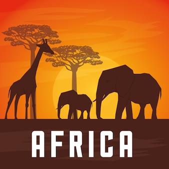 Концепция африки с дизайном иконок