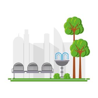 座席と噴水アイコン付きの公園