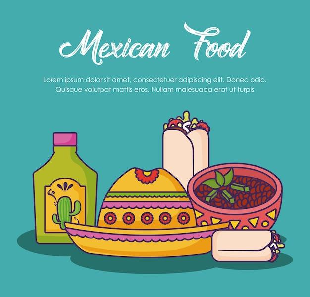 メキシコ料理の関連するアイコンによるインフォグラフィックデザイン