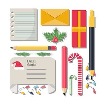 クリスマスウィッシュリストと描画要素アイコンセット