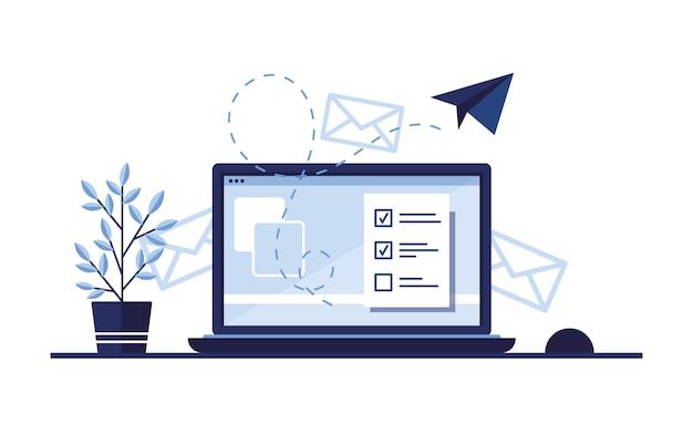 メールマーケティングのバナーイラスト。自宅、オフィスの職場。ラップトップ。紙飛行機。サイトの完成した申請書。書類の記入。モニター画面。青い。