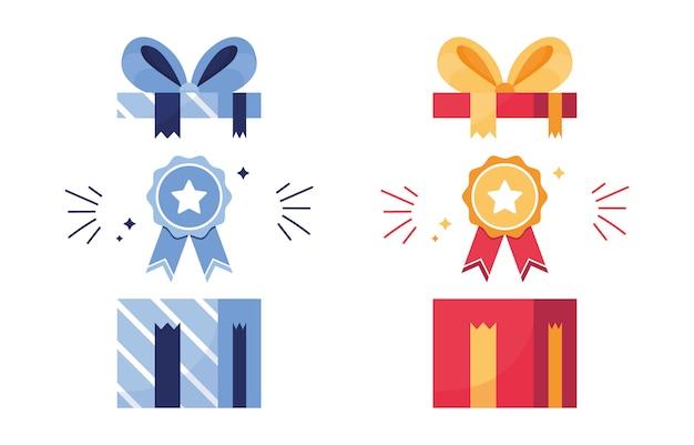 ギフトと賞のセット。オープンボックスの賞。そもそもアイコン、勝利。リボン付きメダル。報酬にスターを付けます。ゲーム、スポーツの成果。青と赤
