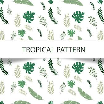 白い背景に緑の植物と素晴らしい熱帯のパターン