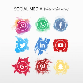 ソーシャルメディアのロゴタイプコレクションの水彩画