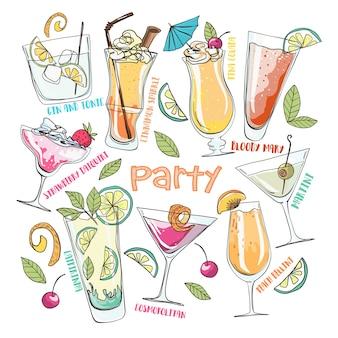 手描きの漫画のベクトル図。夏のパーティー。カクテルや飲み物。