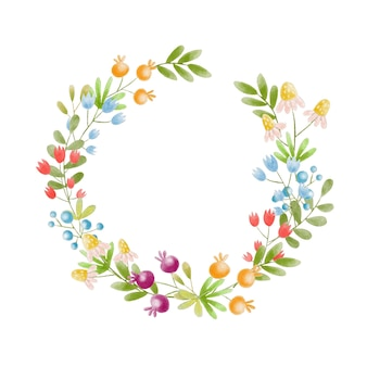 手塗りの水彩花輪の花輪