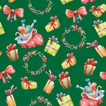Акварельный бесшовный рождественский шаблон