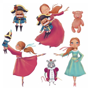 かわいい漫画の人形キャラクターの手描きクリスマスセット