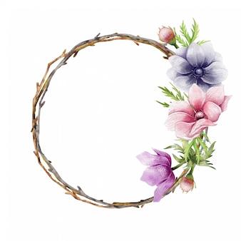 鉛筆画イソギンチャク花輪