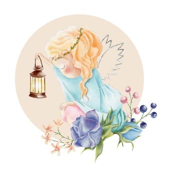 光とバラの花を持つかわいい水彩画天使の女の子