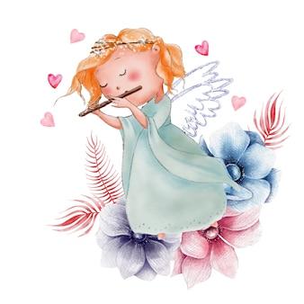 Милый мультфильм акварельный ангел на день святого валентина