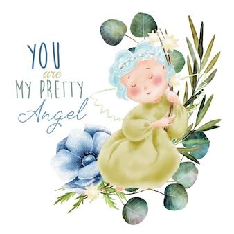 手描きの水彩画の天使と緑の葉