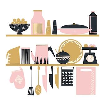 かわいいキッチンツールの手描きのベクトルのセット