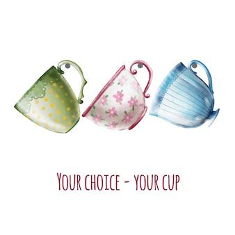 手描きのかわいいヴィンテージティーカップの水彩画セット