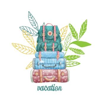 かわいいビンテージスーツケースと休暇のためのバックパックの描き下ろしイラストを手します。