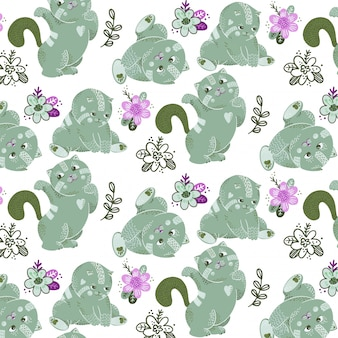 ベクトル緑猫と植物のシームレスパターン