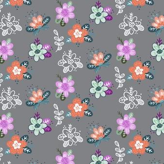 抽象的なベクトルの花とのシームレスなパターン