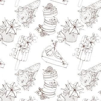お菓子と花のアウトラインベクトルシームレスパターン