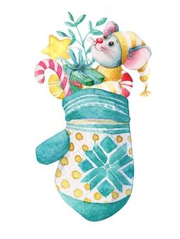 Ручной обращается акварель рождество иллюстрация мыши в варежке с украшениями