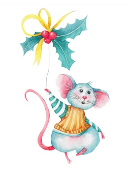 Акварельная рождественская мышка с ягодами падуба
