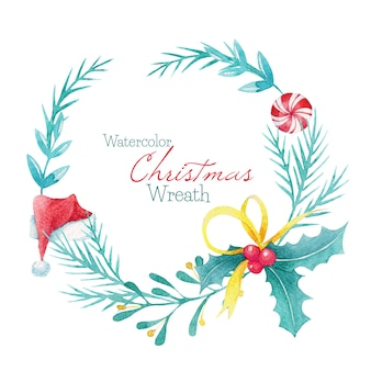 かわいい水彩画のクリスマスリース