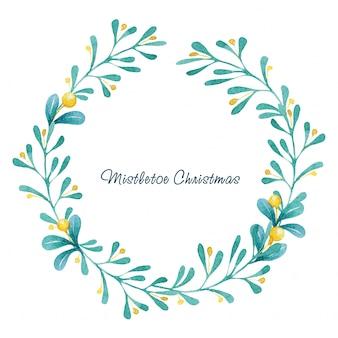 水彩クリスマスヤドリギの花輪