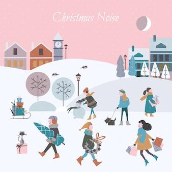 市内のクリスマスノイズのベクトルイラスト。クリスマスの人々