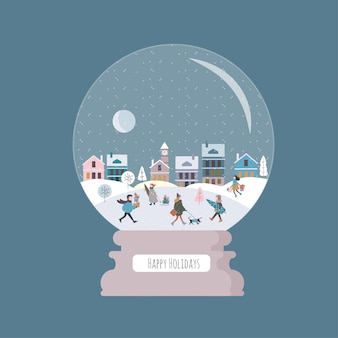 Рождественский волшебный шар с зимним городом и людьми